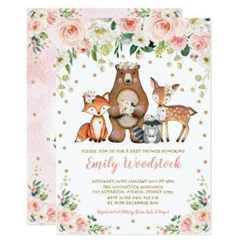 Pretty Floral Woodland Animals Baby Girl Shower Invitation