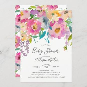 Pretty Pastel Floral Baby Shower Invitation