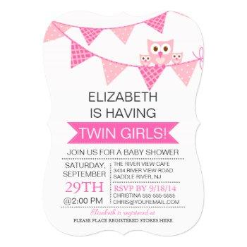 Pretty Pink Bunting Owl Twin Girls Baby Shower Invitation