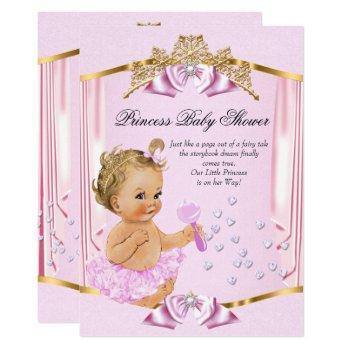 Pretty Princess Baby Shower Pink Gold Blonde Invitation