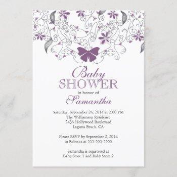 Pretty Purple Butterfly Baby Girl Baby Shower Invitation