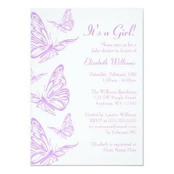 Pretty Purple Butterfly Baby Shower Invitations