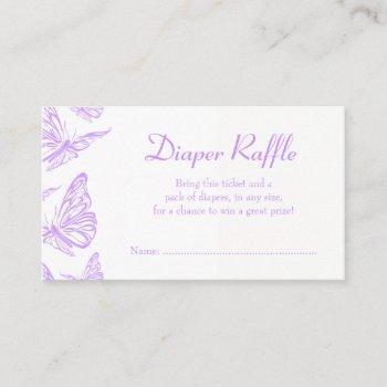 Pretty Purple Butterfly Diaper Raffle Ticket Enclosure Card