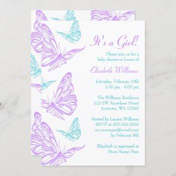 Pretty Purple Teal Butterfly Girl Baby Shower