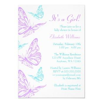 Pretty Purple Teal Butterfly Girl Baby Shower Invitation