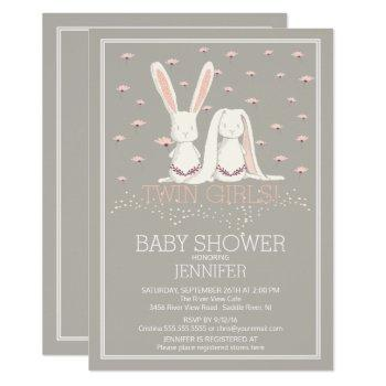 Pretty Spring Pink Twin Girls Bunny Baby Shower Invitation