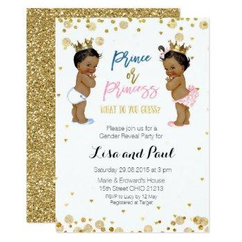 Prince And Princess Gender Reveal Invite Gold