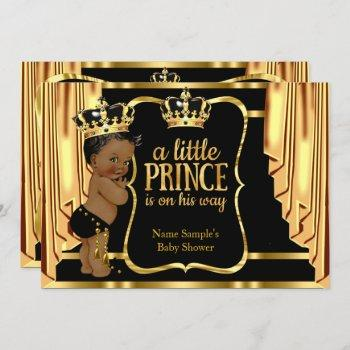 Prince Baby Shower Black Gold Drapes Ethnic Invitation