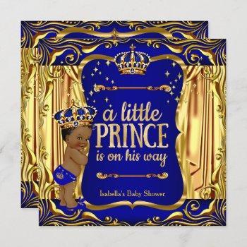 Prince Baby Shower Blue Gold Ethnic Boy Invite