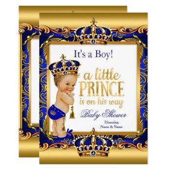 Prince Baby Shower Blue Ornate Gold Blonde Boy Invitation
