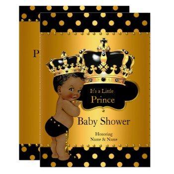Prince Baby Shower Boy Black Gold Ethnic Invitation