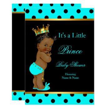 Prince Baby Shower Boy Teal Black Ethnic Invitation