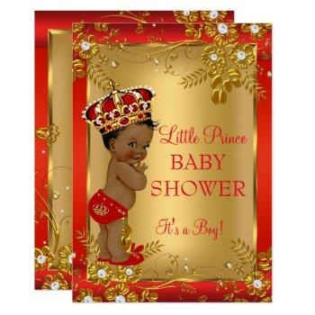 Prince Boy Baby Shower Red Gold African American Invitation