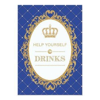 Prince Drinks Sign Royal Gold Baby Shower Decor Invitation