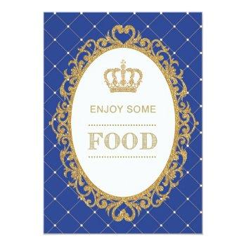 Prince Food Sign Royal Blue Gold Baby Shower Decor Invitation