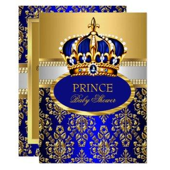 Prince Royal Blue Crown Baby Shower Invitation