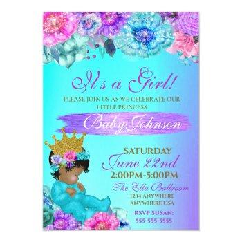 Princess Baby Elegant Purple Teal Gold Baby Shower Invitation
