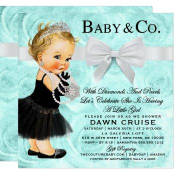 Princess Baby Shower Blue Watercolor Invitation