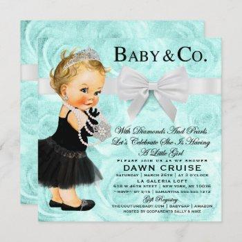 Princess Baby Shower Blue Watercolor Invitation