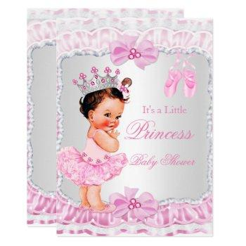 Princess Baby Shower Girl Pink Ballerina Brunette Invitation