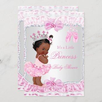Princess Baby Shower Girl Pink Ballerina Ethnic Invitation