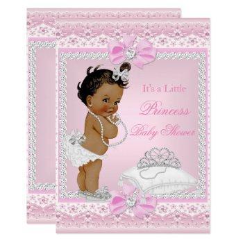 Princess Baby Shower Girl Pink Tiara Heart Ethnic Invitation