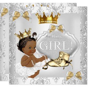 Princess Baby Shower Gold Silver Damask Ethnic Invitation
