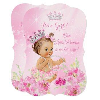 Princess Baby Shower Pink Floral Tutu Brunette Invitation