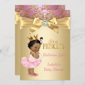 Princess Baby Shower Pink Gold Ballerina Ethnic Invitation