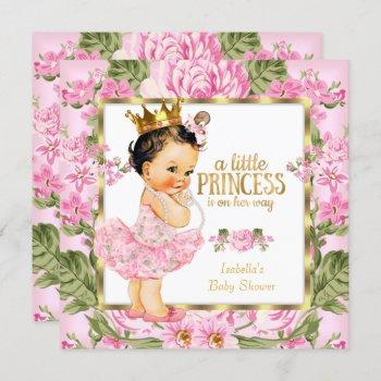 Princess Baby Shower Pink Gold Rose Floral Invitation
