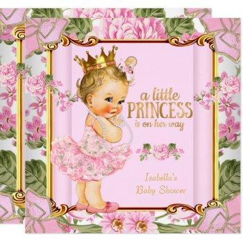Princess Baby Shower Pink Rose Floral Blonde Girl Invitation