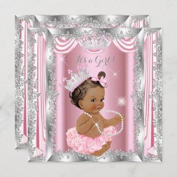 Princess Baby Shower Pink Silver Ballerina Dark