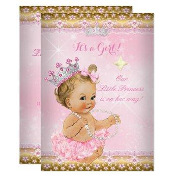 Princess Baby Shower Pink Tutu Gold Tiara Blonde Invitation