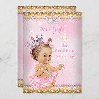 Princess Baby Shower Pink Tutu Gold Tiara Brunette