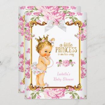 Princess Baby Shower Pink White Floral Blonde 2 Invitation