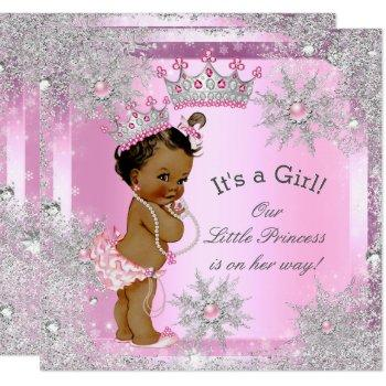 Princess Baby Shower Pink Winter Wonderland Ethnic Invitation