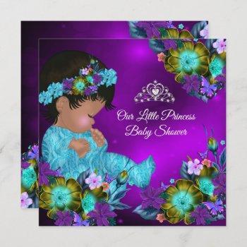 Princess Baby Shower Teal Blue Purple Girl Ethnic