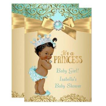 Princess Baby Shower Teal Gold Damask Ethnic Invitation