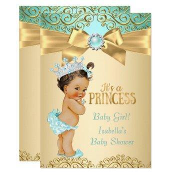 Princess Baby Shower Teal Gold Damask Invitation