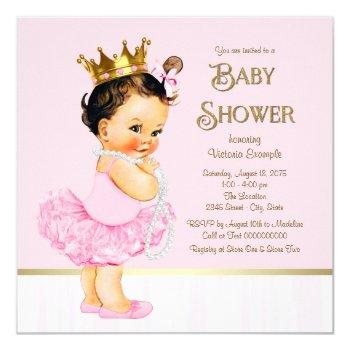 Princess Ballerina Tutu Pink Gold Baby Shower Invitation