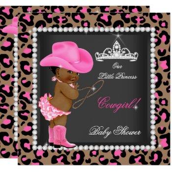 Princess Cowgirl Baby Shower Pink Brown Ethnic Invitation