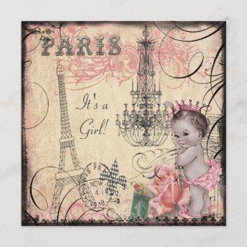 Princess Eiffel Tower & Chandelier Baby Shower Invitation