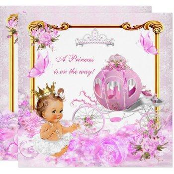 Princess Girl Baby Shower Pink Gold Carriage Tiara Invitation