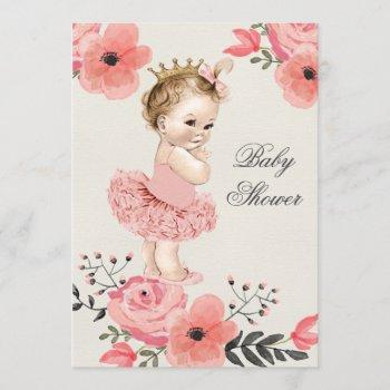 Princess In Tutu Watercolor Flowers Baby Shower Invitation