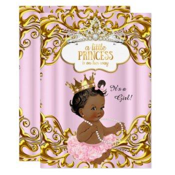 Princess Is On Her Way Baby Shower Pink Ethnic Invitation