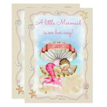 Princess Mermaid Clam Shell Baby Shower Invitation