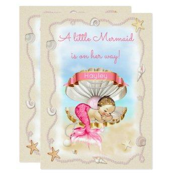 Princess Mermaid Name On Clam Shell Baby Shower Invitation