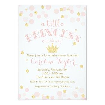 Princess Pink Gold Glitter Baby Shower Invitation