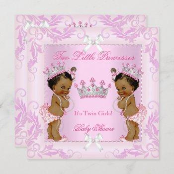 Princess Pink Pearls Twin Baby Shower Tiara Ethnic Invitation
