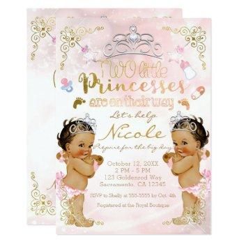 Princess Pink Sparkle Twin Girls Baby Shower Invitation